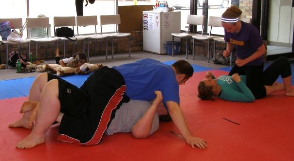 Participants practicing mount
